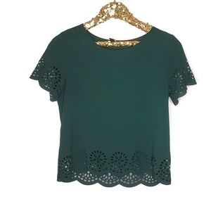 Windsor Hunter Green Scallop Laser cut Lace Blouse